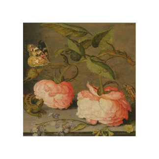 A Still Life with Roses on a Ledge Wood Wall Decor