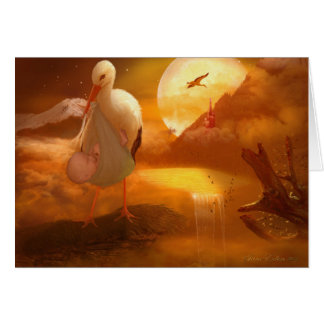 'A Stork's Precious Load' - Greetings Card