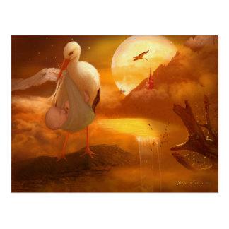 'A Stork's Precious Load' Postcard