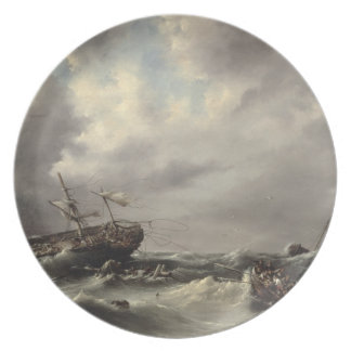 A Storm at Sea (oil on panel) Plate