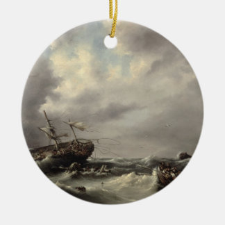 A Storm at Sea (oil on panel) Round Ceramic Decoration
