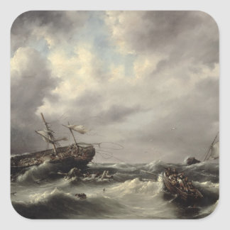 A Storm at Sea (oil on panel) Square Sticker