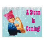 """""""A Storm is Coming"""" With Rosie in Pink Hat Postcard"""