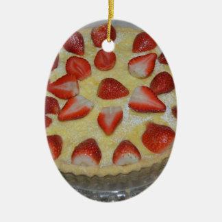 A strawberry cake ceramic oval decoration