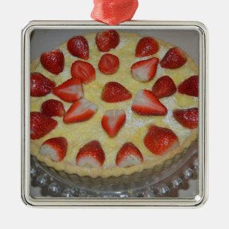 A strawberry cake Silver-Colored square decoration