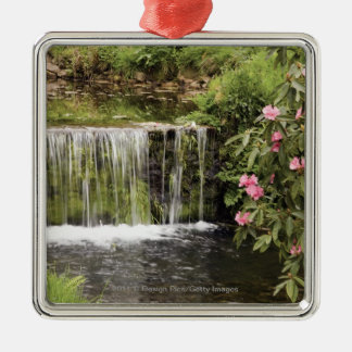 A Stream And Waterfall In Dartmoor National Park Silver-Colored Square Decoration