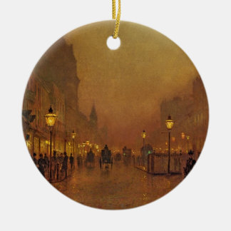 A Street at Night (oil on panel) Christmas Ornament