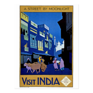 """A Street by Moonlight ""  Indian Travel Poster Postcard"