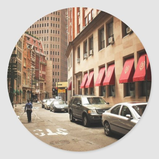 A Street Scene in the Financial District Round Stickers