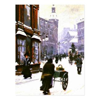 A Street Scene in Winter, Copenhagen Postcard