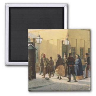 A street scene, outside a prison, 1868 magnet