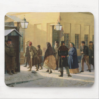 A street scene, outside a prison, 1868 mouse mat
