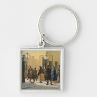 A street scene, outside a prison, 1868 Silver-Colored square key ring