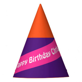 A Stripe pink + Your Colors & Text Party Hat
