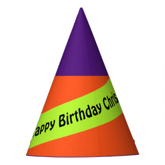 A Stripe spring green + Your Colors & Text Party Hat