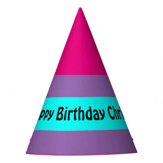A Stripe turquoise + Your Colors & Text Party Hat