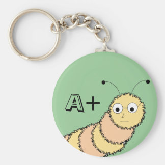 A+ Student bookworm green keychain