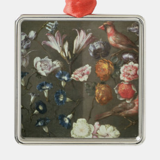 A Study of Peonies, Convolvulus, Lilies and two Fi Silver-Colored Square Decoration