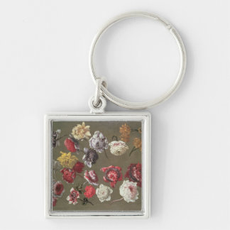 A Study of Peonies (oil on canvas) Key Ring
