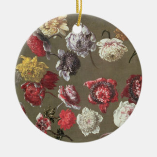 A Study of Peonies (oil on canvas) Round Ceramic Decoration