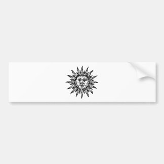 A stylized Black and White Sun sign Bumper Stickers