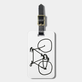 a stylized black bicycle luggage tag