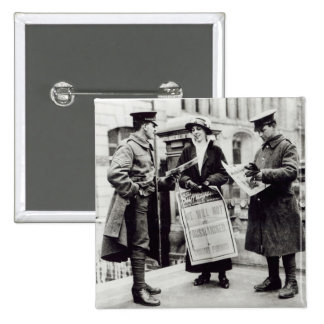 A Suffragette selling newspapers to two 15 Cm Square Badge