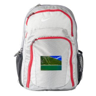 a suggestive green mountain lake on Nike backpack