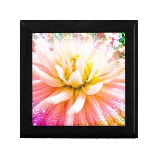 A summer Dahlia flower on vivid background Small Square Gift Box