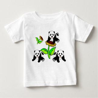 A Sunflower and Panda Bears Baby T-Shirt