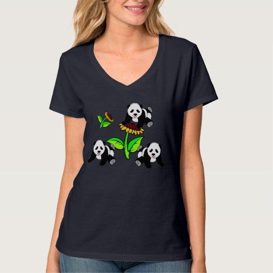A Sunflower and Panda Bears T-Shirt