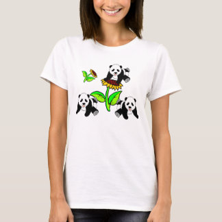A Sunflower and Panda Bears T-Shirt