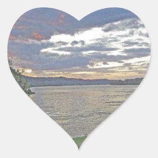 A Sunrise Along The Ohio River Heart Sticker