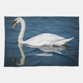 A swan and its reflection kitchen towel