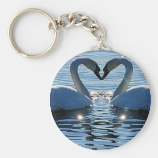 A Swan Heart Kiss Reflections of Love Keychains