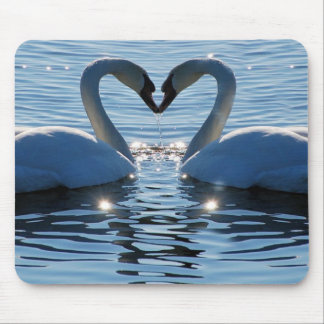 A Swan Heart Kiss Reflections of Love Mouse Pad