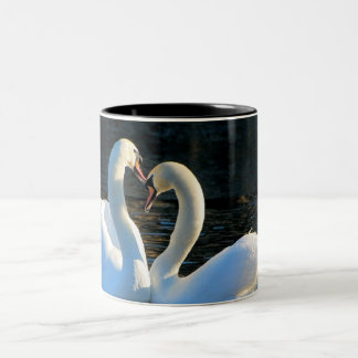 A Swan Heart Kiss, Reflections of Love Two-Tone Mug