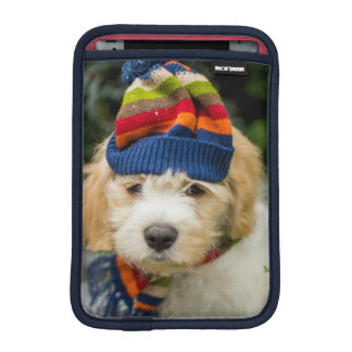A Sweet Cavachon Puppy In A Winter Hat And Scarf iPad Mini Sleeve