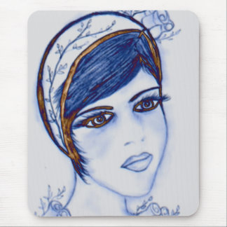 A Sweet Flapper in Blues and Brown Mouse Pads