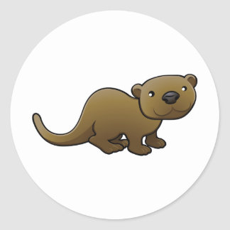 A sweet friendly otter round sticker