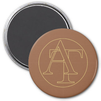 """""""A&T"""" your monogram on """"iced coffee"""" color 7.5 Cm Round Magnet"""