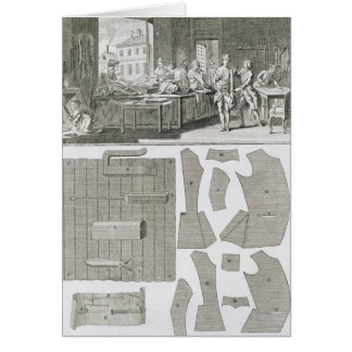 A tailor's workshop and patterns, from the 'Encycl Card