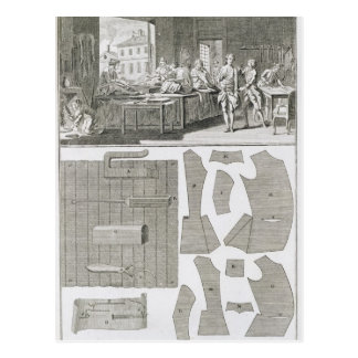 A tailor's workshop and patterns, from the 'Encycl Postcard