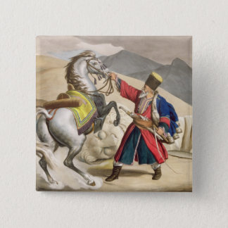 A Tartar with his Horse, engraved by the Thierry B 15 Cm Square Badge