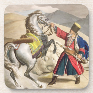 A Tartar with his Horse, engraved by the Thierry B Drink Coaster