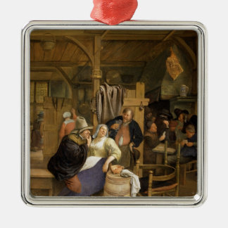A Tavern Interior with Card Players Christmas Ornament