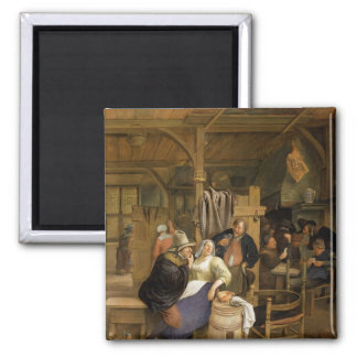 A Tavern Interior with Card Players Magnet