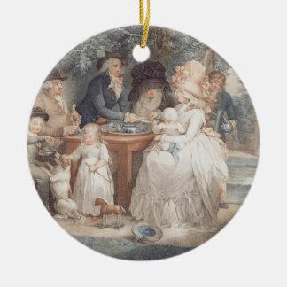 A Tea Garden, colour stipple engraving after Morla Round Ceramic Decoration