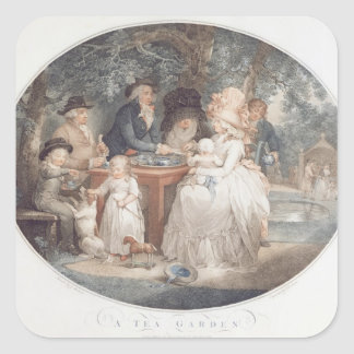 A Tea Garden, colour stipple engraving after Morla Square Sticker