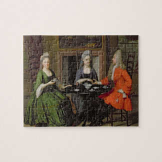 A Tea Party (oil on canvas) Jigsaw Puzzle